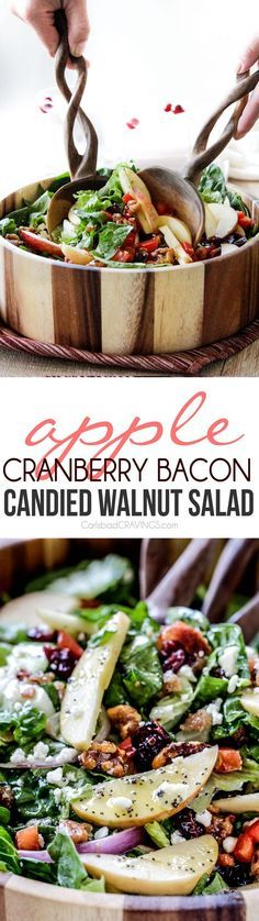 Apple Cranberry Bacon Candied Walnut Salad with Apple Poppy Seed Vinaigrette Recipe   Carlsbad Cravings