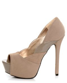 Qupid Miriam 61 Taupe Texture Time Scalloped Peep Toe Pumps | Lulu's