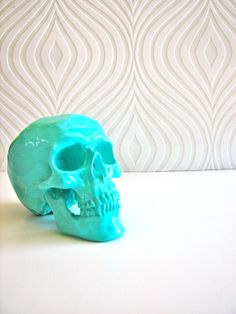 Skull Head in Aqua: Mr. Smiley. $25.00, via Etsy.