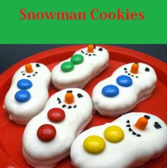 White chocolate dipped nutter butter snowmen
