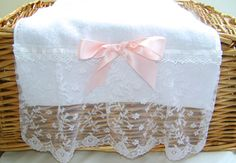 Pair Handmade Lace Edge Guest Towels Lace Towels by Donnaslaundry