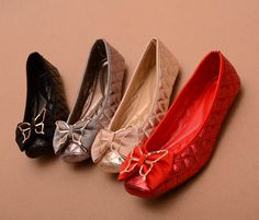 [US$30.99] - Princess Street Square Head Satin Metal Bow Flat Shoes : ThatsPoint.com
