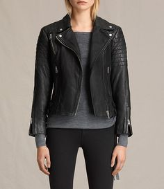 Womens Papin Leather Biker Jacket (Black) - Image 1