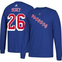 adidas Men s New York Rangers Jimmy Vesey  26 Royal Long Sleeve Shirt 9121d6ba51f5