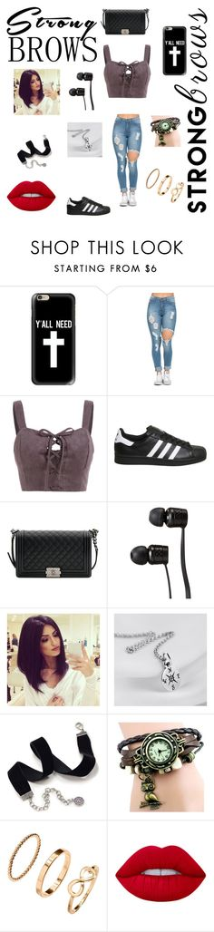 """Strongbrows"" by monrealgmarilyn ❤ liked on Polyvore featuring Casetify, adidas, Chanel, Vans, Sweet Romance and Lime Crime"