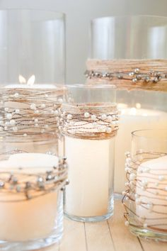 DIY...twine & beads wrapped candles in glass vases