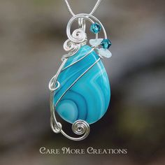 Blue Stripes Agate Wire Wrapped Pendant by CareMoreCreations.com, $34.00