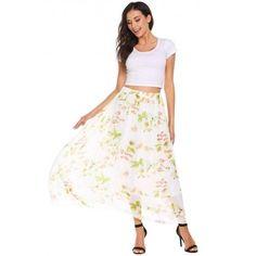 Elastic Waist Floral Print Casual Chiffon Skirts