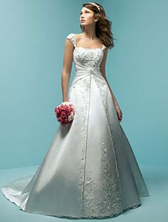 A-Line/Princess Square Chapel Train  wedding dress (WS0040