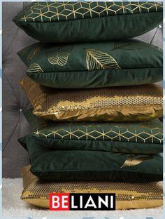 Dekokissen mit Blatt-Motiv in Gold - Nativity Diy How to Make Art Deco Bedroom, Bedroom Decor, Living Furniture, Living Room Decor, Sofa Pillows, Throw Pillows, Paint Cabinets White, Terrace Garden Design, Green Sofa