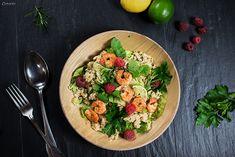 Gesundes Rezept für Couscous Garnelen Salat mit Honig-Senf-Dressing. Tolles Rezept für die ganze Familie. Gesund & leicht.