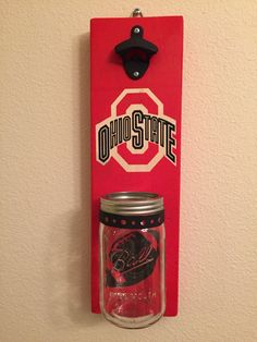 http://www.homefavour.com/category/Jar-Opener/ OHIO STATE Bottle Opener with Mason Jar Rustic OHIO State - pinned by pin4etsy.com