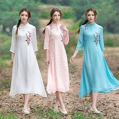 White Chinese Traditional Embroidery Cotton&Linen Women's Casual Dresses Gown