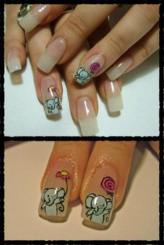 cute elephant nails