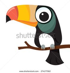 A cartoon vector illustration of a little cute toucan bird perching on a tree branch.