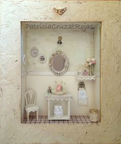 Baño simple con miniaturas en un cuadro 30x35cm