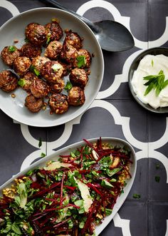 Toasted pine nut lamb kofta with grated beetroot freekeh salad. Photo by Phu Tang, styling by Gemma Lush for thedesignfiles.net