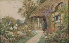 A Young Girl In A Cottage Garden Cross Stitch by Avalon Cross Stitch on Etsy