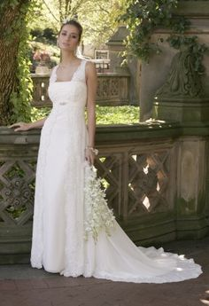 Chiffon Split Front Wedding Dress with Beaded Lace from Camille La Vie and Group USA