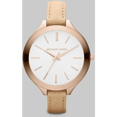 Michael Kors Runway Rose Goldtone Stainless Steel & Vachetta Leather... (265 CAD) ❤ liked on Polyvore featuring jewelry, watches, apparel & accessories, rose gold, stainless steel watches, bezel jewelry, leather strap watches, rose gold tone jewelry and stainless steel jewelry