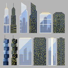 Set of detailed vector skyscraper by Lauritta on Creative Market
