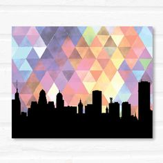 Buffalo, NY print featuring the Buffalo skyline and a trendy watercolor geometric print.