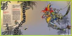 parrot dragon, palm trees, funny, children illustration