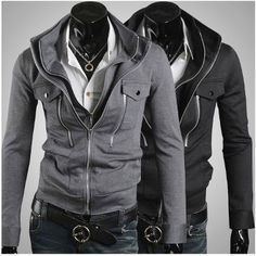 Korean Fashion Men's Double Zipper Slim Fit Jacket  Guys, show off that sexy winter wear to the ladies before spring sneaks in!