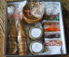 30 DIY Gifts That Will Actually Get used! - 30 DIY Gifts That Will Actually Get used! Homemade Christmas Gifts for Family – Ice Cream Sundae Hamper – Click pic for 25 DIY Gift Baskets Ideas – This a great idea! Craft Gifts, Cute Gifts, Diy Gifts, Holiday Gifts, Best Gifts, Funny Gifts, Homemade Gifts For Men, Cute Presents, Cheap Gifts