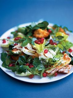 (favourite winter salad | Jamie Oliver ) Fennel, watercress, gem lettuce salad with halloumi, croutons and pomegranate and a lemon yogurt dressing. DELICIOUS
