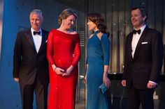 King Philippe and Queen Mathilde arrive to the their return arragenemt at the Black Diamond on March 29, 2017 in Copenhagen, Denmark. This event completes King Philippe's and Queen Mathilde's 2 days state visit to Denmark.