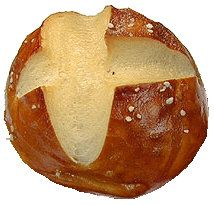 Laugenbrötchen: German pretzel formed into a round dinner roll.