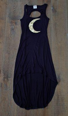 "Sailor moon Luna Maxi Dress w/Sequin Moon ""The Moon Child"" - Navy Blue Sequin Embellished T Shirt Dress Evening Boho Sexy Dress Alternative Mode, Alternative Fashion, Mode Style, Style Me, Visual Kei, Diy Vetement, Witch Fashion, Dress Up, Shirt Dress"
