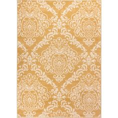Well Woven Bright Trendy Twist Damask Linen Gold Air Twisted Polypropylene Rug featuring polyvore, home, rugs, gold, olefin rug, stain resistant rugs, non skid area rugs, gold rug and non skid rugs
