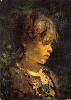 Michetti, Francesco Paolo (1851-1929) - 1870-75 Girl in the Sun (Christie's Rome, 2001)  #TuscanyAgriturismoGiratola