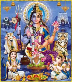 Shiva Parvati and family Shiva Shakti, Shiva Parvati Images, Rudra Shiva, Mahakal Shiva, Arte Shiva, Shiva Art, Hindu Art, Chiang Mai, Om Namah Shivaya