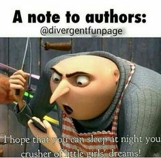 a note to authors:  I hope that you can sleep at night, you crusher of little girls' dreams!