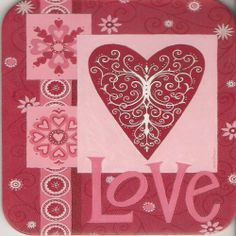 """Coasters Set of Four - Love Valentine's Day Hearts - Deb Strain & Legacy by Legacy Publishing. $6.95. Cork-backed coasters - You get four coasters!. Wipe Clean. Light weight and durable. size: 3 3/4"""" x 3 3/4"""". Heat & water resistant, thanks to a Plastic Laminate. Please don't forget to buy the Coaster Holders that I have for sale!"""
