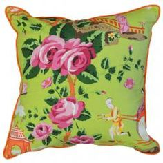 China+Rose+Pink+&+Orange+on+Green+Pillow