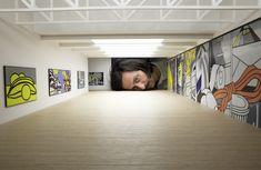 tezi gabunia creates surreal images of big heads inside famous galleries