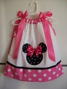 There are a whole series of these mickey mouse applique pillowcase dresses