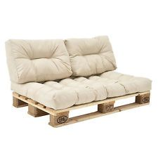 """[en.casa]® """"Euro Paletten Sofa"""" 3x Sitz-/Rückenkissen Beige Kissen Auflage"""