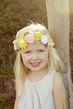 Felt Flower Crown - Flower Girl Headband. $40.00, via Etsy.