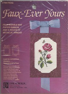 Faux-Ever Yours Rose 7801 CrossStitch Kit Marble Mat by Designs Needle Inc