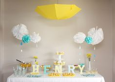 """Sprinkle"" baby party. LOVE THE CLOUDS WITH RAIN DROPS. SO CUTE!"