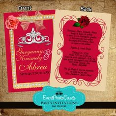 Red Roses Silver Black Quinceanera Invites Photo Invites