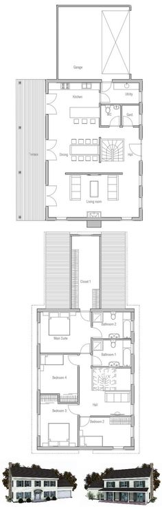 Small colonial style house plan. Shapes & lines & symmetry are similar to typical colonial house but house overall size is smaller.