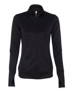 Durable yet lightweight, this performance jacket is the perfect combination of athletic design and utility. This fashionable jacket will keep you warm and looking stylish during your cool weather walks and workouts.  It features runner's thumbholes on cuffs, set-in sleeves and anti-microbial treatment for odor-free performance. Sized for her, this 100% polyester double knit interlock jacket is lightweight, yet substantially tailored to last. Blank product.