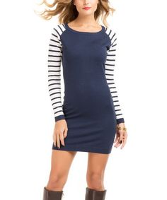 This White & Navy Stripe Raglan Dress by TART Collections is perfect! #zulilyfinds