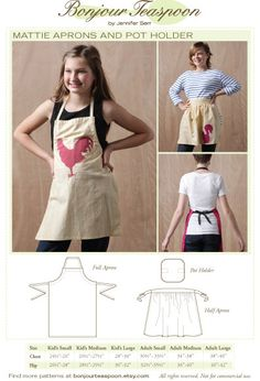 Mattie Aprons and Pot Holder Sewing Pattern sized for Kids thru Adults
